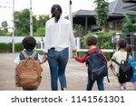 group of preschool student and... | Shutterstock . vector #1141561301