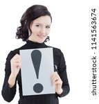 young business woman holding a... | Shutterstock . vector #1141563674