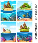 a set of island and underwater... | Shutterstock .eps vector #1141566164