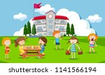 children playing at school... | Shutterstock .eps vector #1141566194