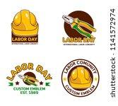 a set labor day logo emblem  | Shutterstock .eps vector #1141572974