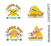 a set labor day logo emblem  | Shutterstock .eps vector #1141572977