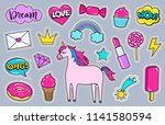 modern cute girly colorful... | Shutterstock .eps vector #1141580594