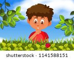 young boy looking at a lady bug ... | Shutterstock .eps vector #1141588151