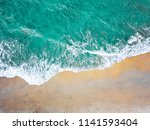 top view of green turquoise sea ... | Shutterstock . vector #1141593404