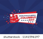 happy columbus day banner... | Shutterstock .eps vector #1141596197