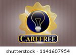gold badge or emblem with idea ... | Shutterstock .eps vector #1141607954