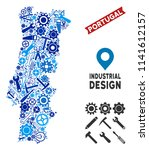 Industrial Portugal map collage of gearwheels, spanners, hammers and other hardware. Abstract territorial plan in blue color tints. Vector Portugal map is done of mechanic parts.