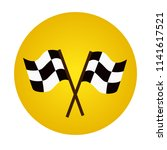 two racing flags. finish and... | Shutterstock .eps vector #1141617521