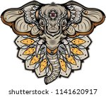 elephant head tattoo  vector... | Shutterstock .eps vector #1141620917