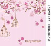 baby shower   girl | Shutterstock .eps vector #114162577