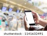 passenger using smartphone in... | Shutterstock . vector #1141632491