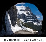 Going to the Sun Mountain from the East Tunnel of the Going to the Sun Road, Glacier National Park - stock photo