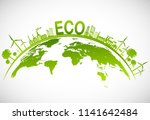 ecology concept with green city ... | Shutterstock .eps vector #1141642484