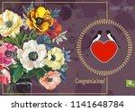 floral vintage greeting card... | Shutterstock .eps vector #1141648784
