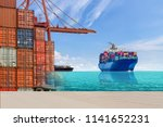 cargo container ship sailing in ... | Shutterstock . vector #1141652231