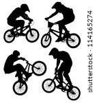 cycling silhouette on white... | Shutterstock .eps vector #114165274