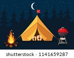 forest camp with tent  bonfire. ... | Shutterstock .eps vector #1141659287