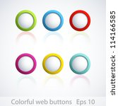 set of colorful 3d buttons.... | Shutterstock .eps vector #114166585