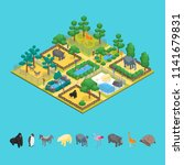 zoo concept and elements 3d... | Shutterstock .eps vector #1141679831