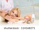 interexting blonde relaxing in... | Shutterstock . vector #114168271