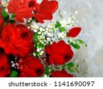 A Red Rose Vase Oil Painting On ...
