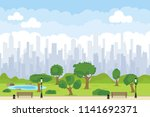 a green park in the center of... | Shutterstock .eps vector #1141692371
