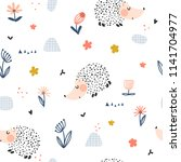 funny seamless pattern with... | Shutterstock .eps vector #1141704977