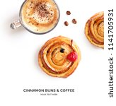Small photo of Creative layout made of cinnamon buns and cup of coffee. Flat lay. Food concept.