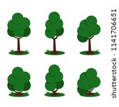 set of cartoon green trees and... | Shutterstock .eps vector #1141706651