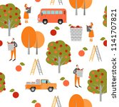 seamless texture. harvest time. ... | Shutterstock .eps vector #1141707821