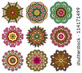 circle ornament set  ornamental ... | Shutterstock . vector #114171499