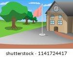school front view blue sky...   Shutterstock .eps vector #1141724417