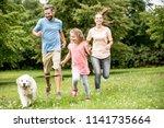 happy girl with parents walking ... | Shutterstock . vector #1141735664