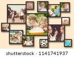 collage of happy children... | Shutterstock . vector #1141741937