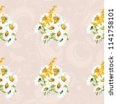 seamless floral pattern with... | Shutterstock .eps vector #1141758101