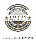 life is beautiful arabic emblem....   Shutterstock .eps vector #1141763051