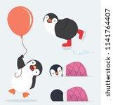 cute penguin characters  set | Shutterstock .eps vector #1141764407
