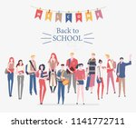schoolgirls and schoolboys with ... | Shutterstock .eps vector #1141772711