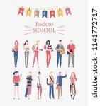 schoolgirls and schoolboys with ... | Shutterstock .eps vector #1141772717