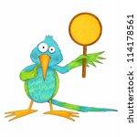 cute cartoon hummingbird...   Shutterstock . vector #114178561
