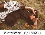 autumn mood. beautiful young... | Shutterstock . vector #1141786514