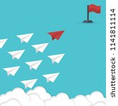 red paper airplane leading... | Shutterstock .eps vector #1141811114