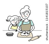 happy woman kneading dough and... | Shutterstock .eps vector #1141815107