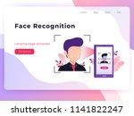 smartphone scans a man face....   Shutterstock .eps vector #1141822247