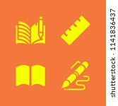 school icon set. with open book ... | Shutterstock .eps vector #1141836437
