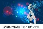 female humanoid robot or cyborg ... | Shutterstock .eps vector #1141842941