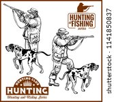hunters with dogs   retro... | Shutterstock .eps vector #1141850837