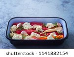 fresh vegetables ready to be...   Shutterstock . vector #1141882154