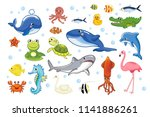 Stock vector collection of cute animals in cartoon style 1141886261